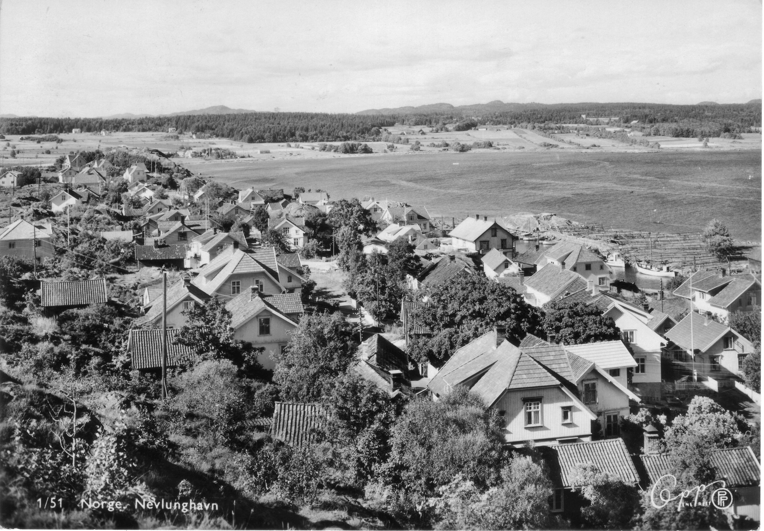 Havna fra SV (kort sendt 1951).JPG