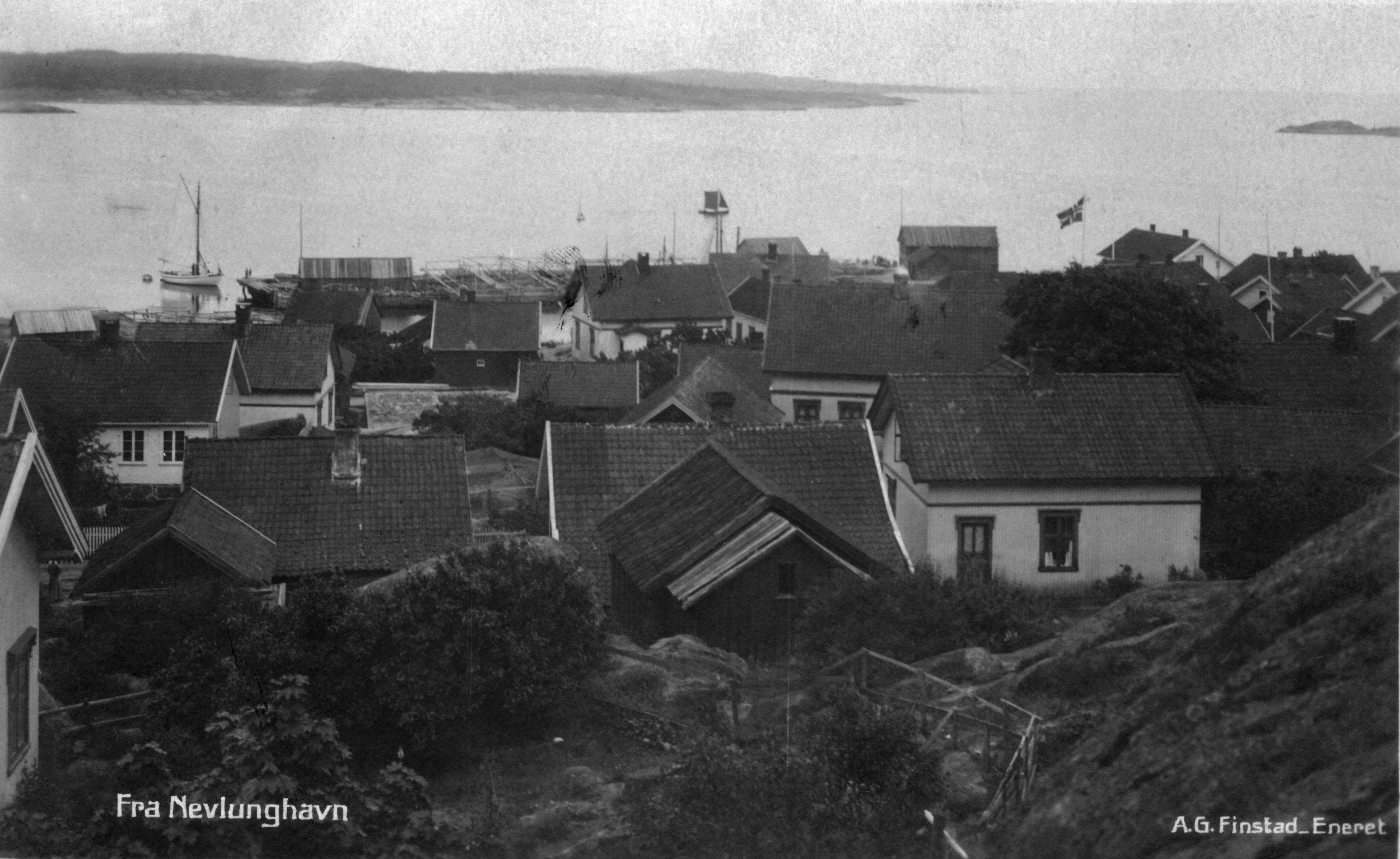 Havna fra V (kort sendt 1920).JPG