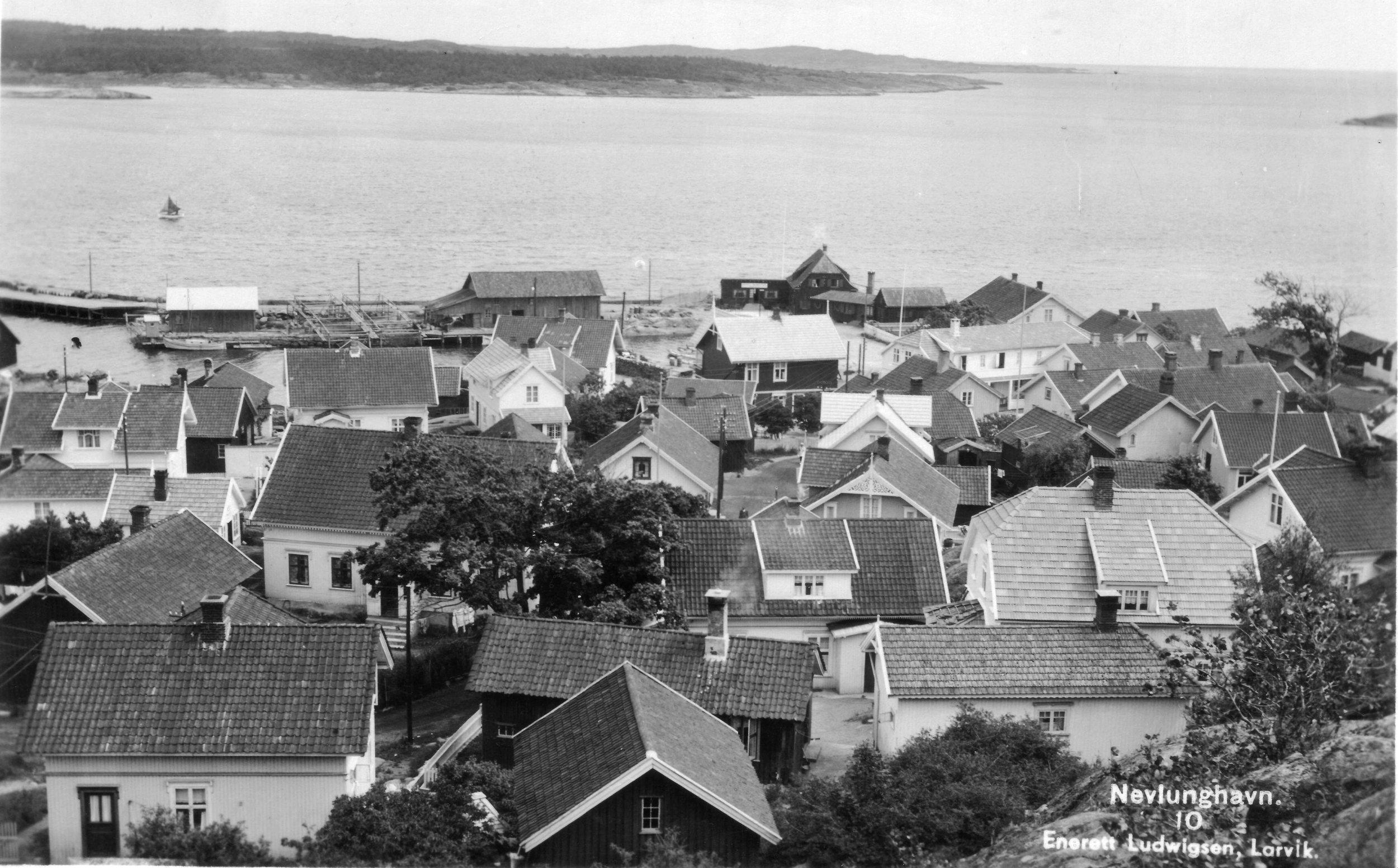 Havna fra V (kort sendt 1949).JPG