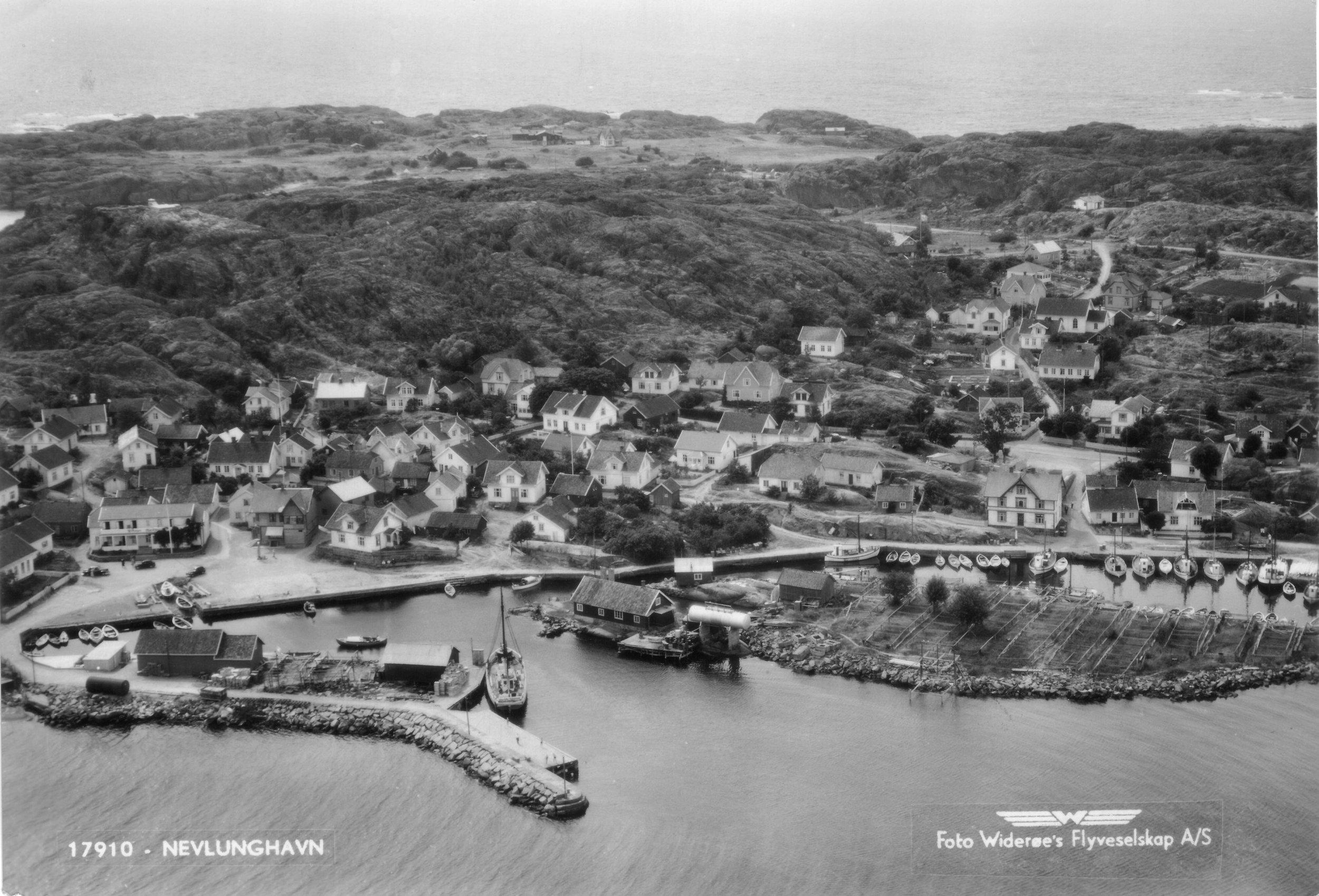Havna fra Ø (kort sendt 1950).JPG