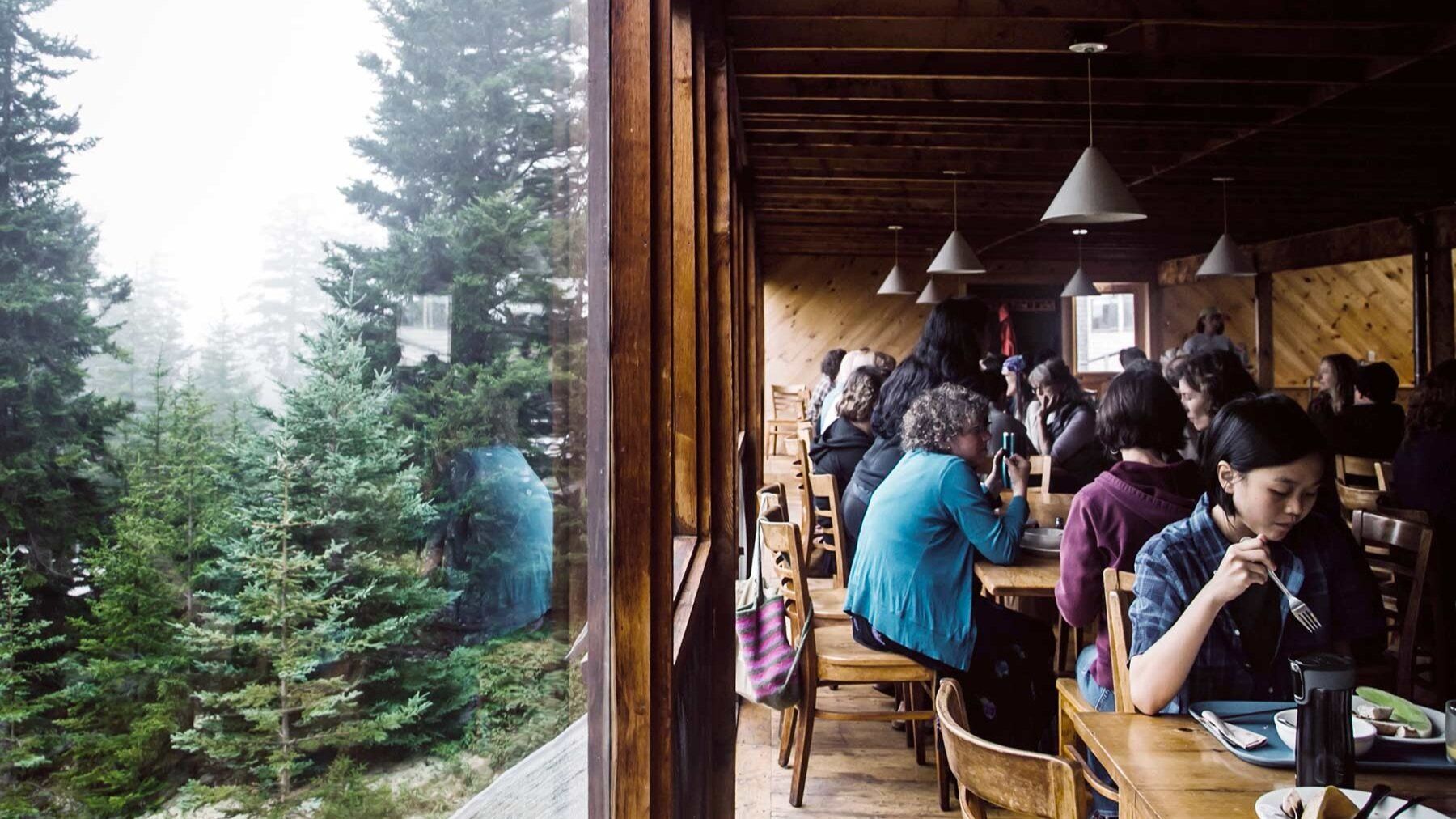 Workshop participants dining together at Haystack