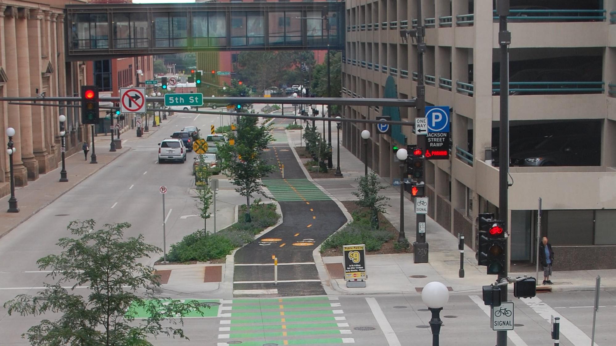 Alternative 4 Precedent Example - Jackson St Capital City Bikeway, St. Paul, MN