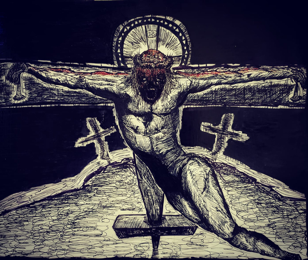 "Thomas van der Krogt  continues to develop studies for new prints at  his shop  at Three Bones Society, such as this pen and ink ""  Golgotha""   for a relief print."