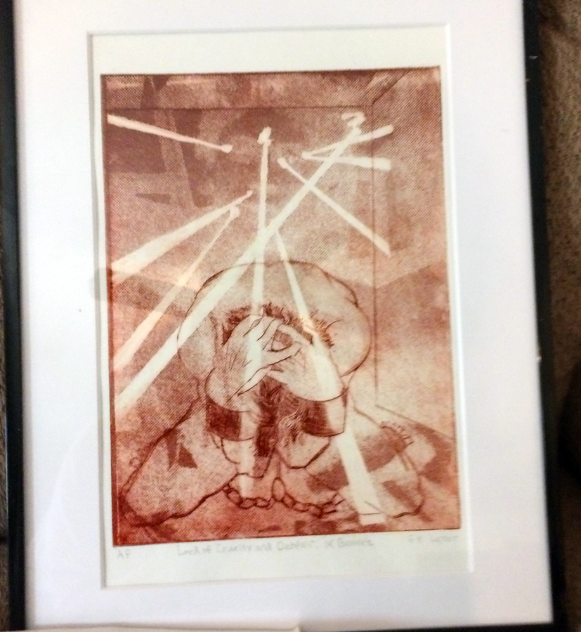 The framed drypoint proof of the key-line plate.