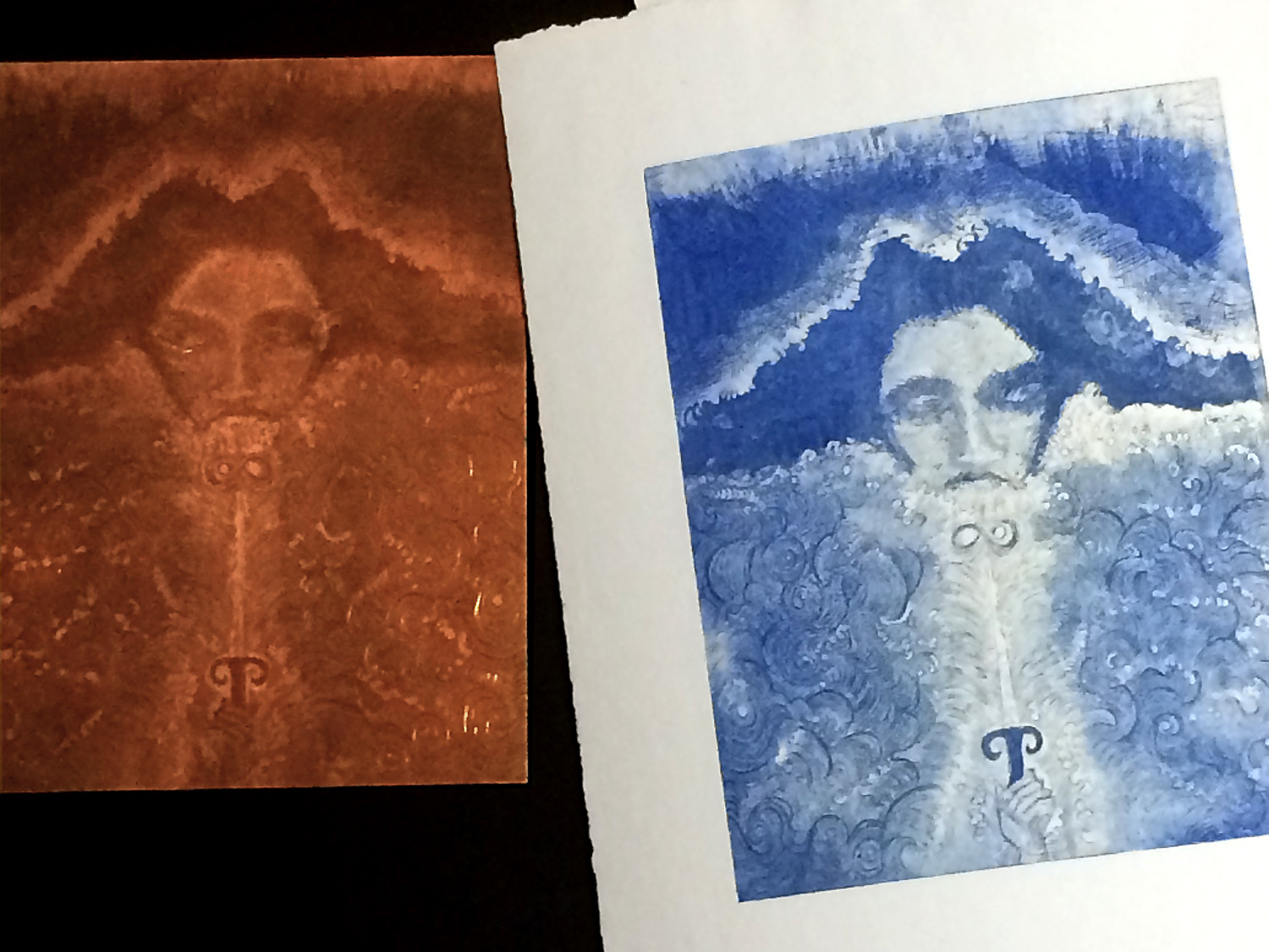 On the left is a copperplate etching by   Eric K. Lerne r  and next to it a print on paper made by impressing the paper onto the inked plate.