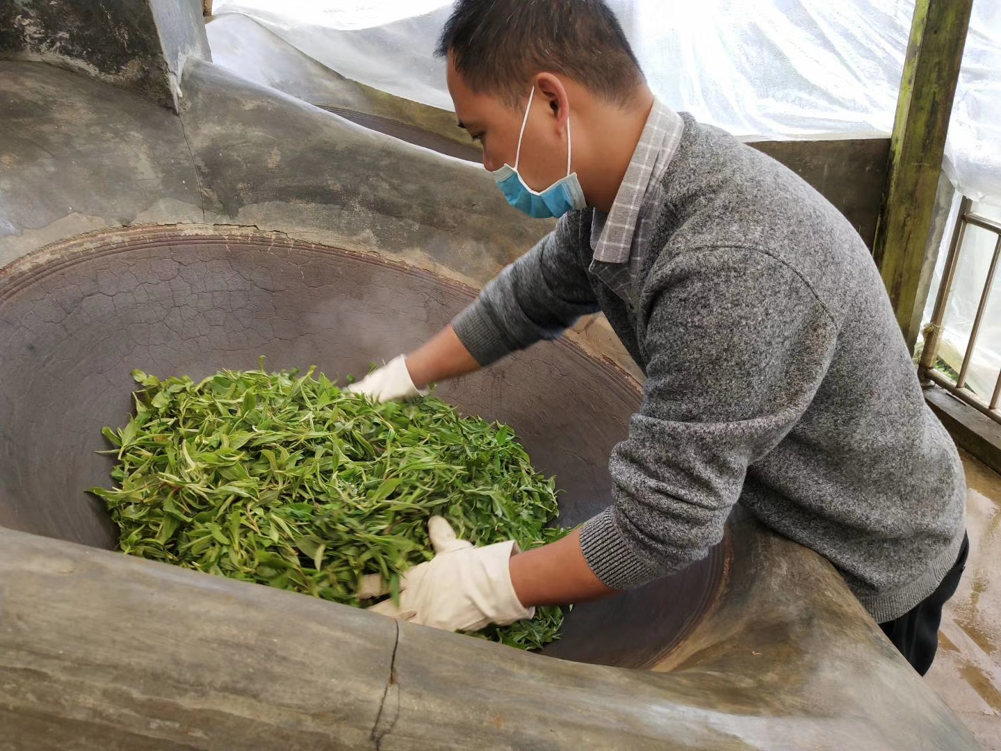 Whole leaves being pan-fried, an essential step that will help define the taste of the tea.