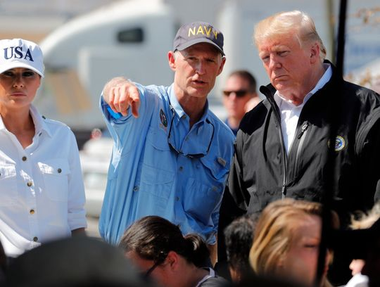 President Trump and Florida Gov. Rick Scott, left, visit Lynn Haven, Fla.   (Photo: RICARDO ROLON, The News-Press via USA TODAY Network)