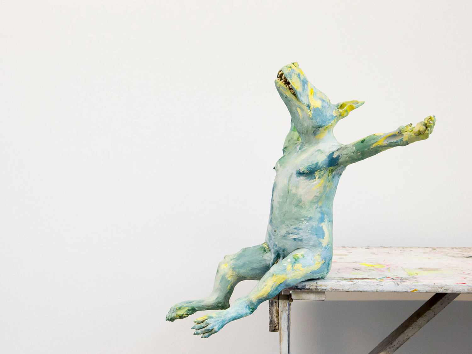 The Crucifixion Starts with a New Day   61.5cm x 54.5cm x 41cm  Hand-built Earthenware, coloured slips, semi-matt, shiny yellow and transparent glaze.  Waking up every morning with the task: to recognize yourself and recover your consciousness.It is just for the livings.