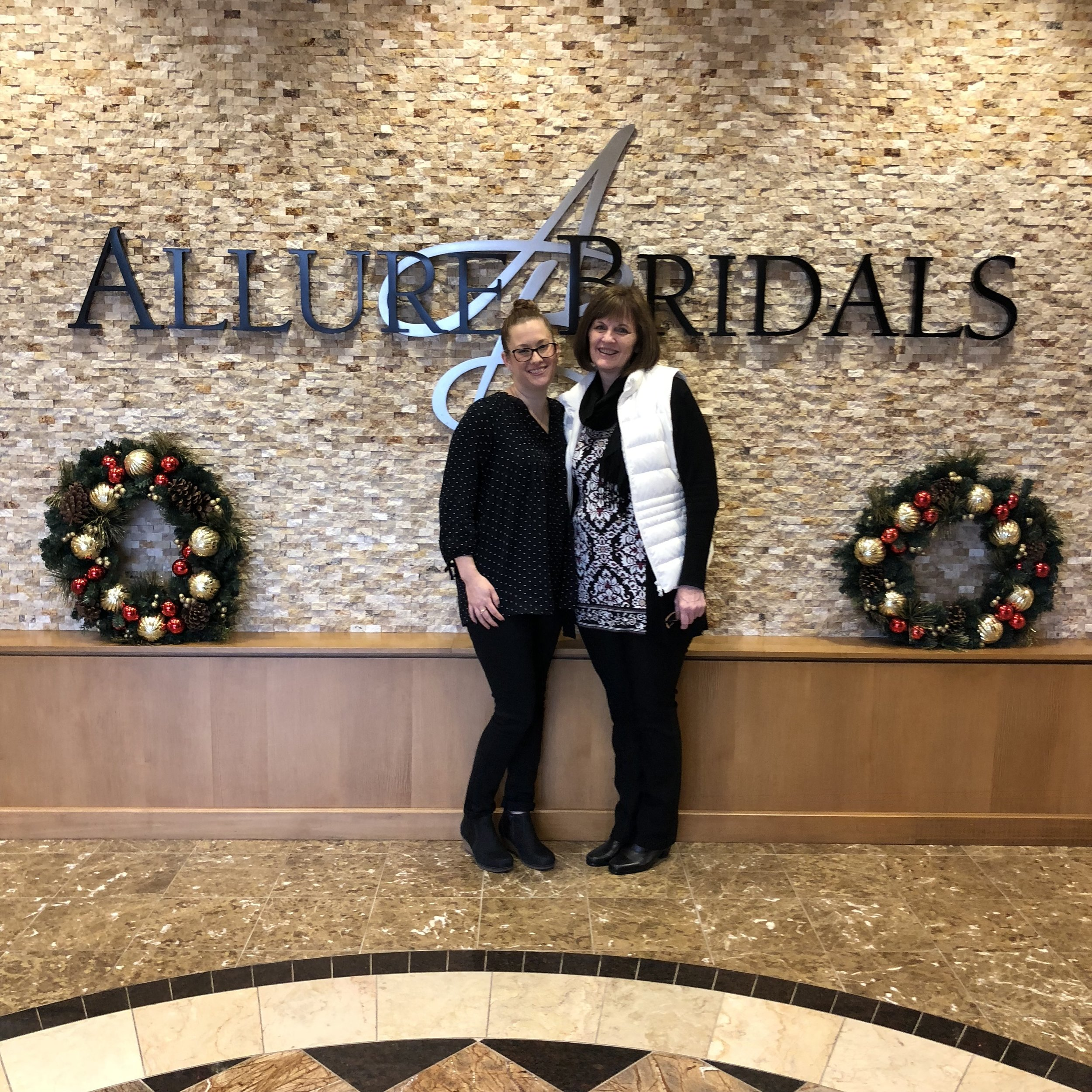 Janice and Sarah at Allure Bridals home office in December 2017.