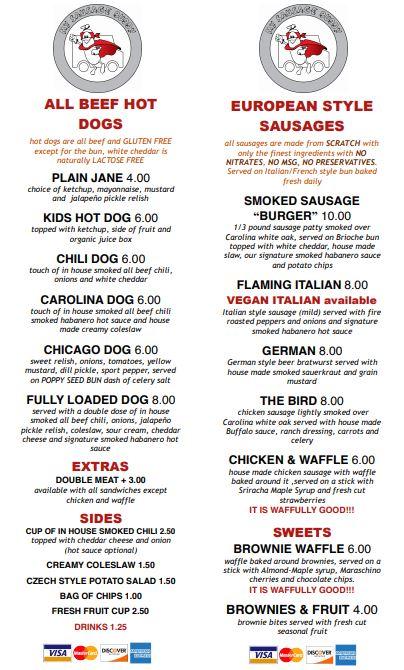 my sausage buddy food menu