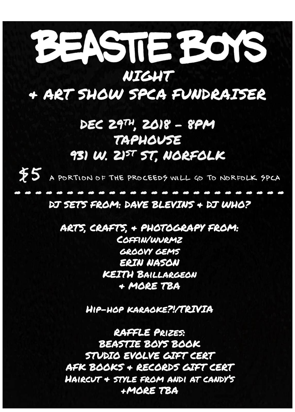 Beastie Boys Night & Art Show SPCA Fundraiser
