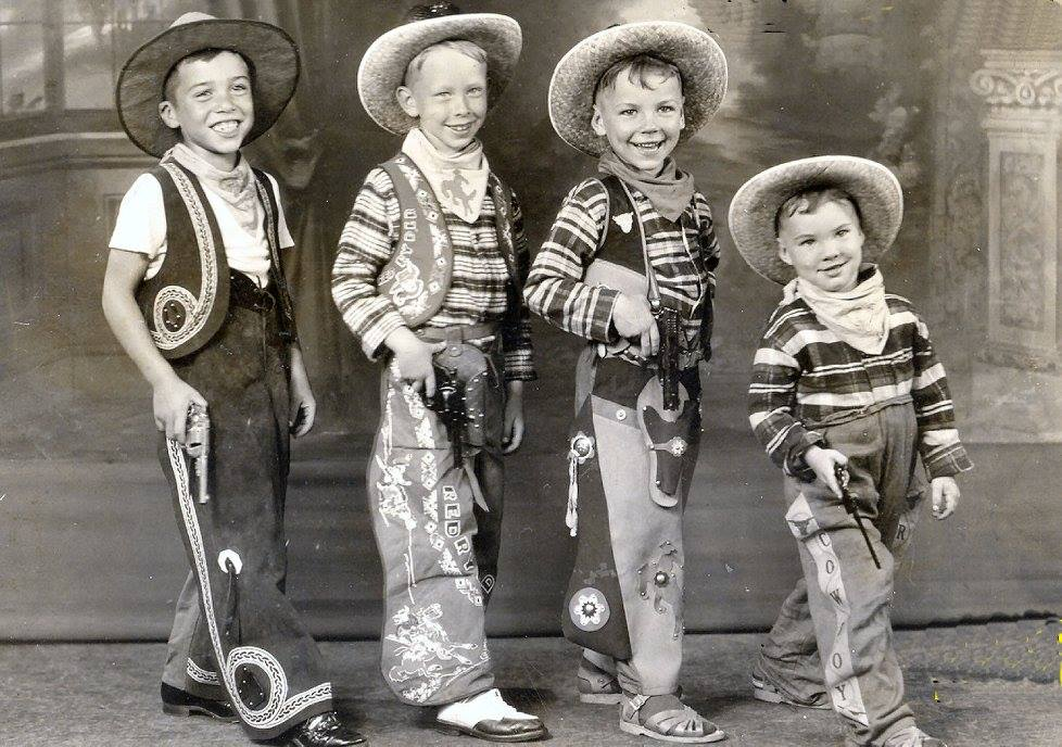 L to R Fred Quayle, Tommy Johnson, Frank Butler & Prince Butler In Jean Ballance Dance Studio in Suffolk, circa 1944 looking for both cows and bad guys in black hats. Photo courtesy of Frank Butler