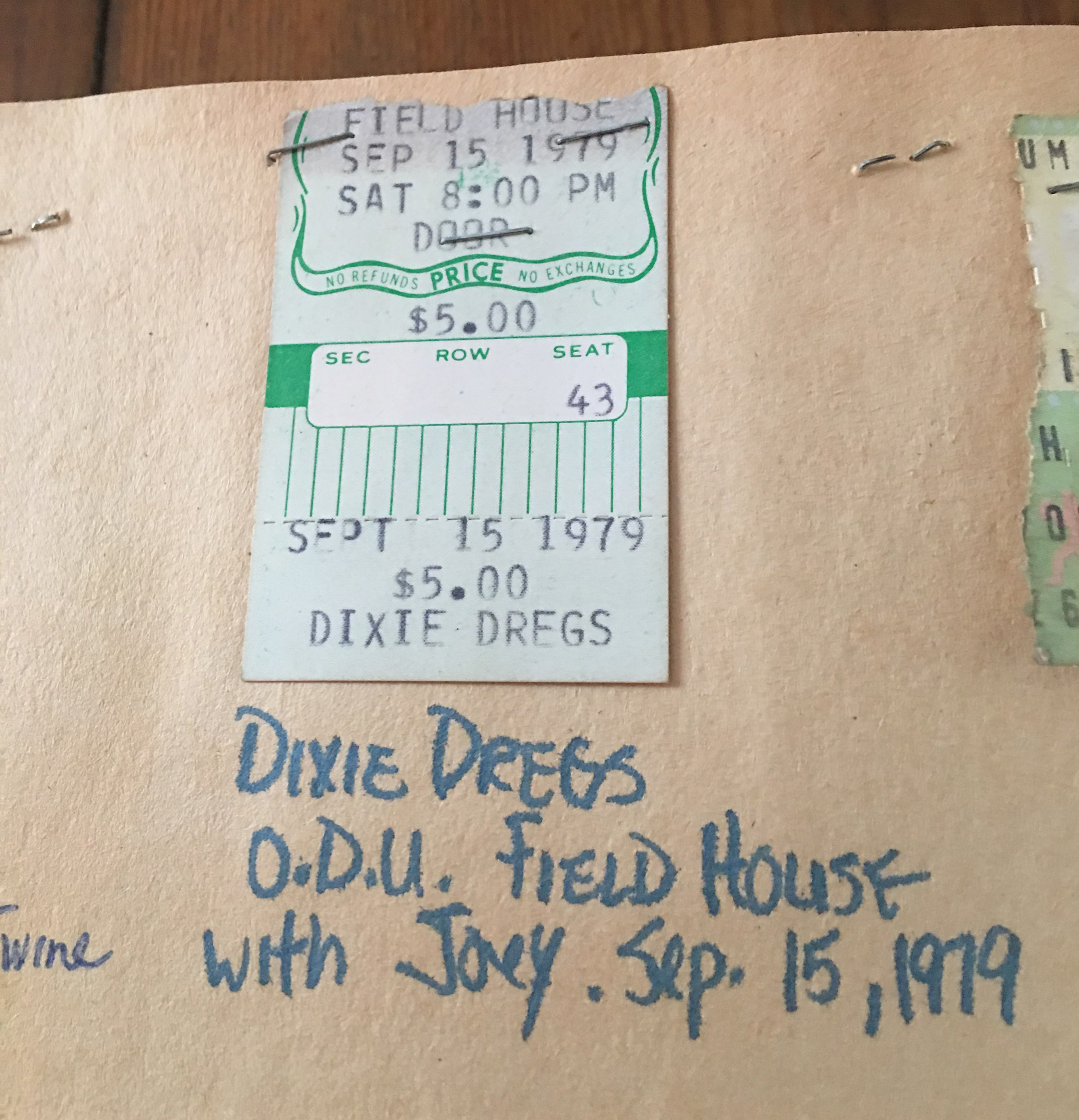 Deb's ticket to see Dixie Dregs at ODU in 1979