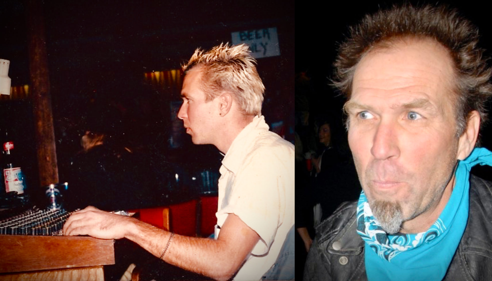 Left: Beno manning the sound board for a local punk band at a club on the ODU campus in c.1983. Right: Beno attending the Trolling Bones reunion show at the Norva in December 2009