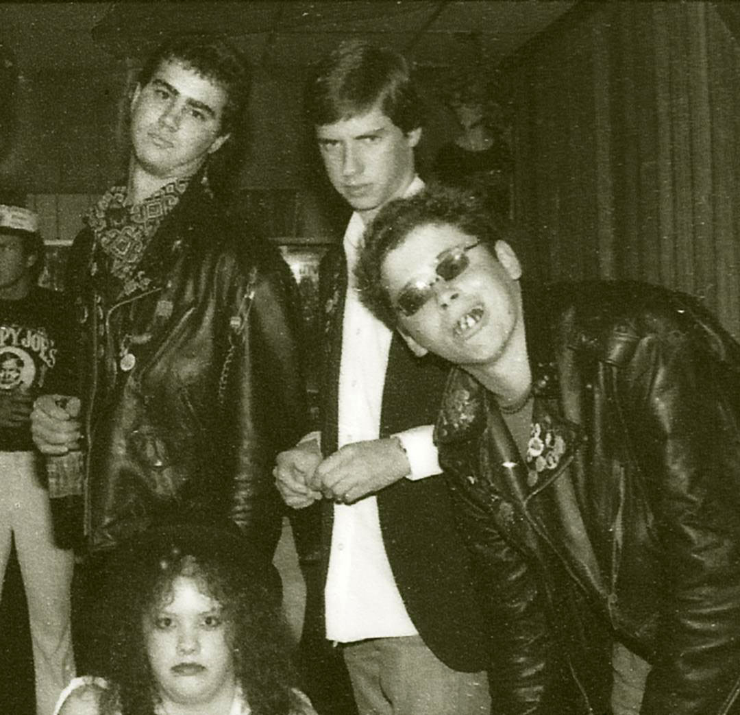 Mother Punk at the Taj Mahal ca. 1982 (with l-r: Andre Ceniceros, unknown, and Vic Demise. Photo by Willi Peele.