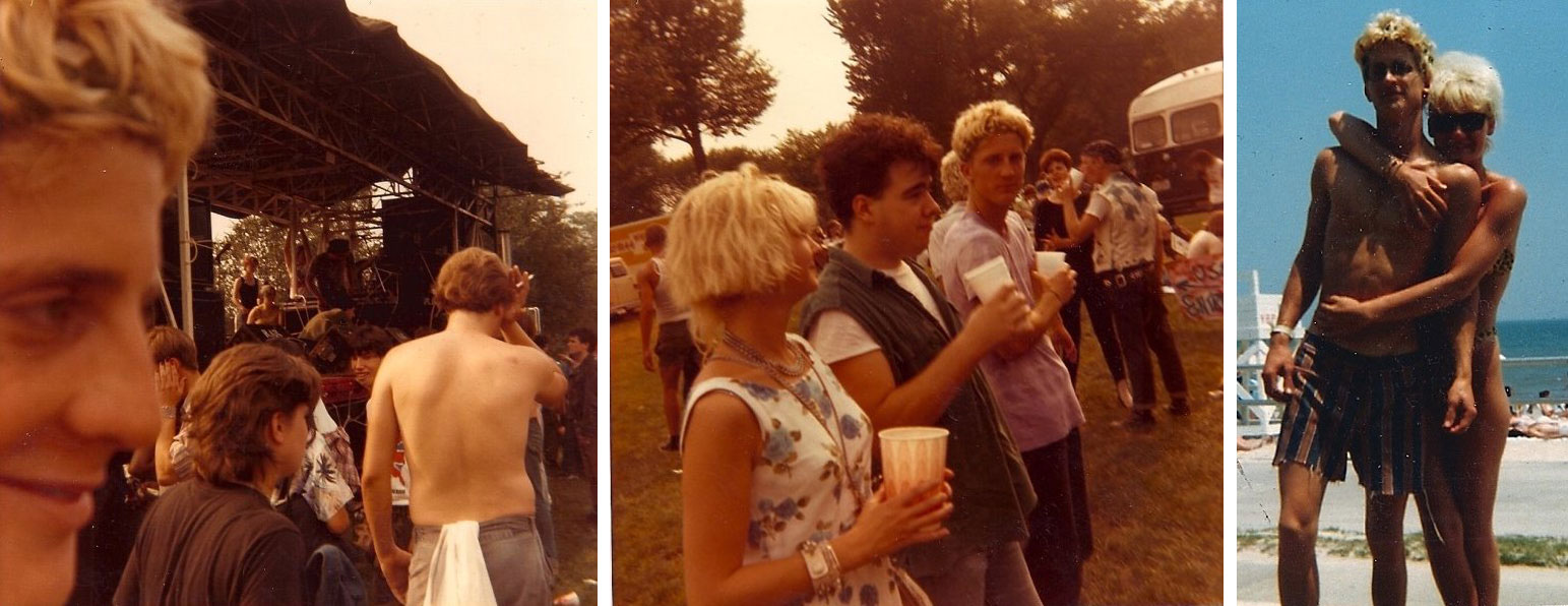 L-R: Mark at Rock Against Reagan, 1985; Jodi Mills, Pork Chop and Mark on far right at Rock Against Reagan, 1985; Mark and his girlfriend Nadia on the boardwalk, c. August 1984