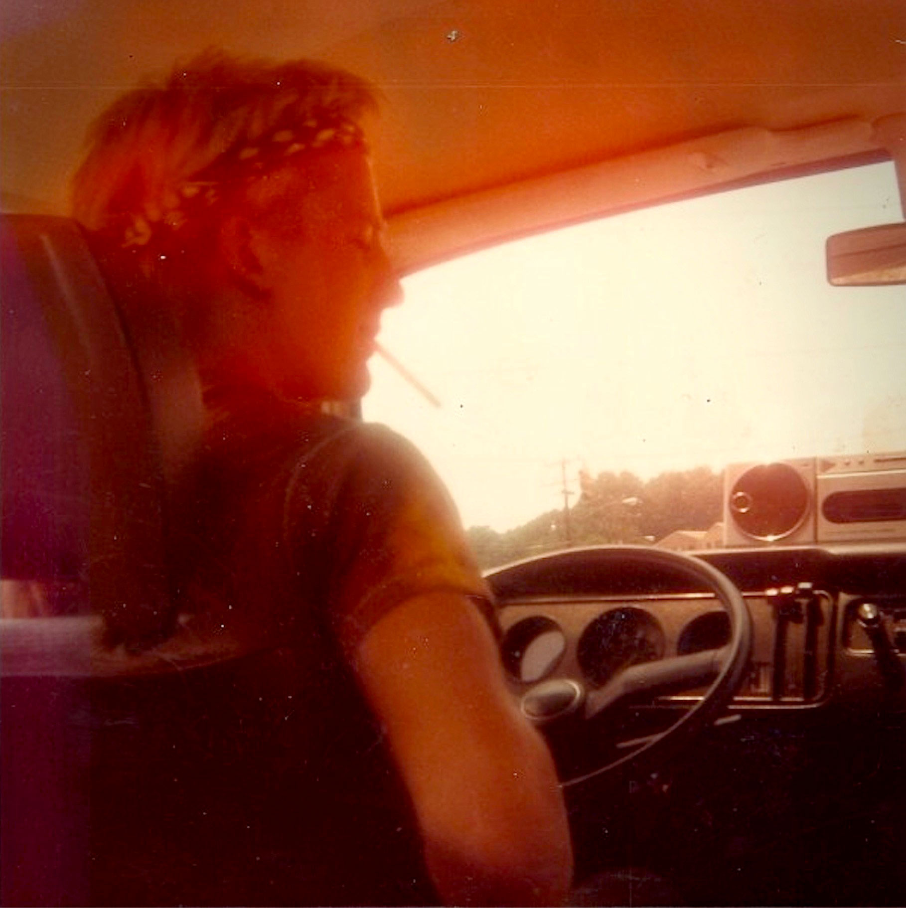 Driving to Rock Against Reagan in my Mom's vintage Mercedes, July 4, 1985