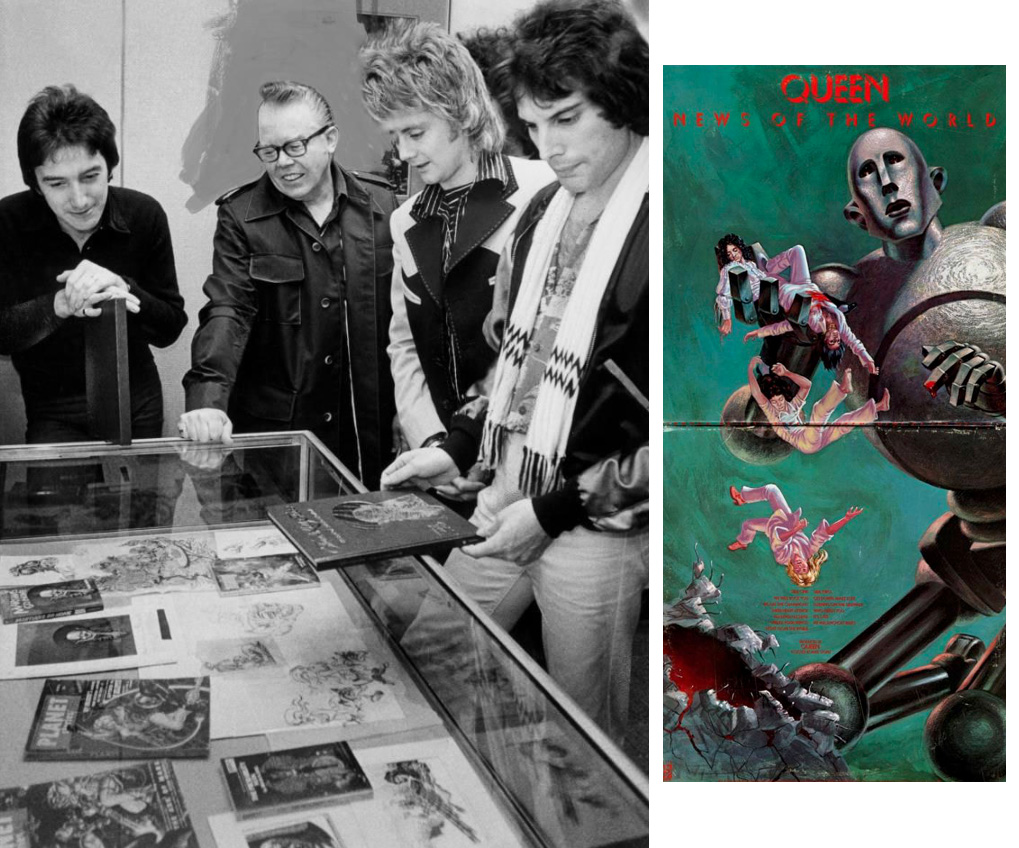 Picture of Frank Kelly Freas and the band checking out his artwork display at the Chrysler Museum in Norfolk, VA that day, November 25, 1977.