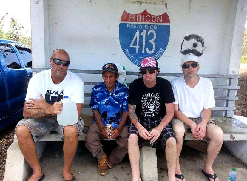 """Fujiwara and some drunk guy at the Pool Bar in Rincon, Puerto Rico. Route 413...the """"road to happiness"""" ca. 2010"""