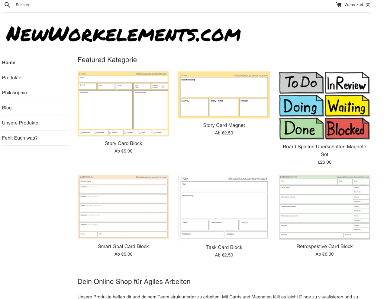 NewWorkElements - This project originated from our own unfulfilled needs while working in agile coaching contexts with other companies. We created paper cards to make physical agile boards functional. And now we set up a shop for you to also get your hands on them. Check it out at newworkelements.com!