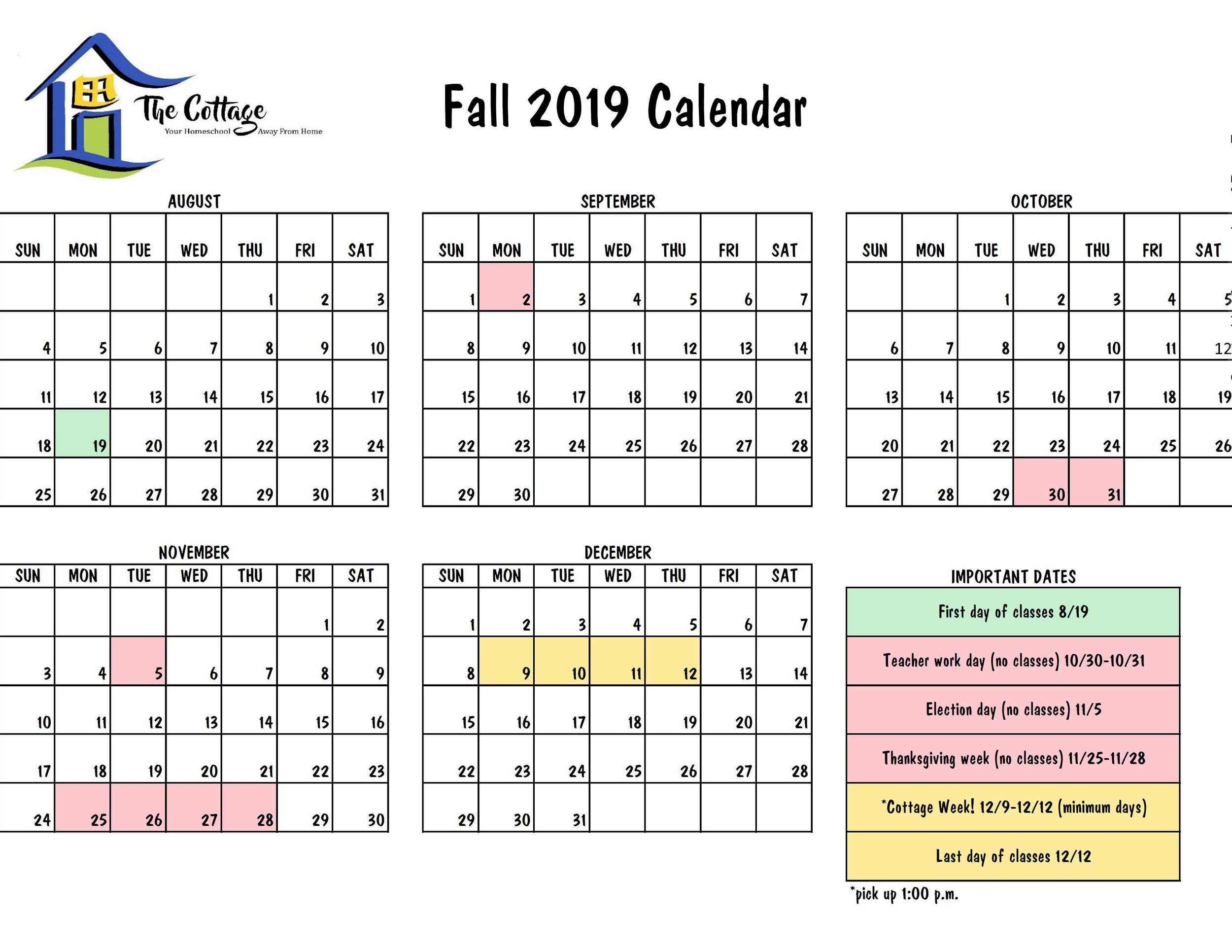 2019 Fall Calendar Fall 2019 Calendar — The Cottage