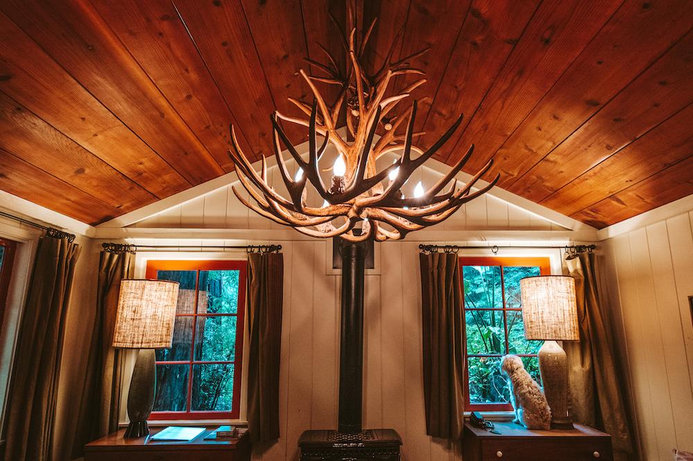 Antler chandelier - Big Sur Cabin at Glen Oaks | Cedar + Surf
