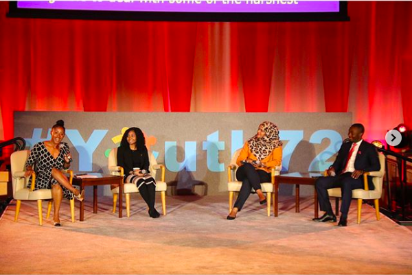 Project Z Co-Founder, Jamira Burley moderating a United Nations Future of Work panel.