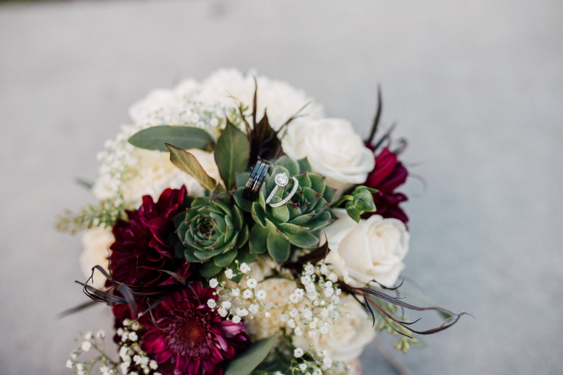 Dark Red and Ivory Bridal Bouquet with Succulents.