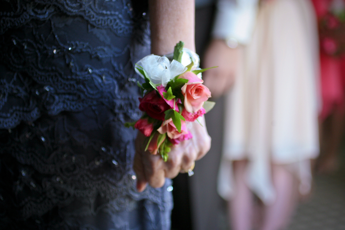 Pink and Peach Wrist Corsage