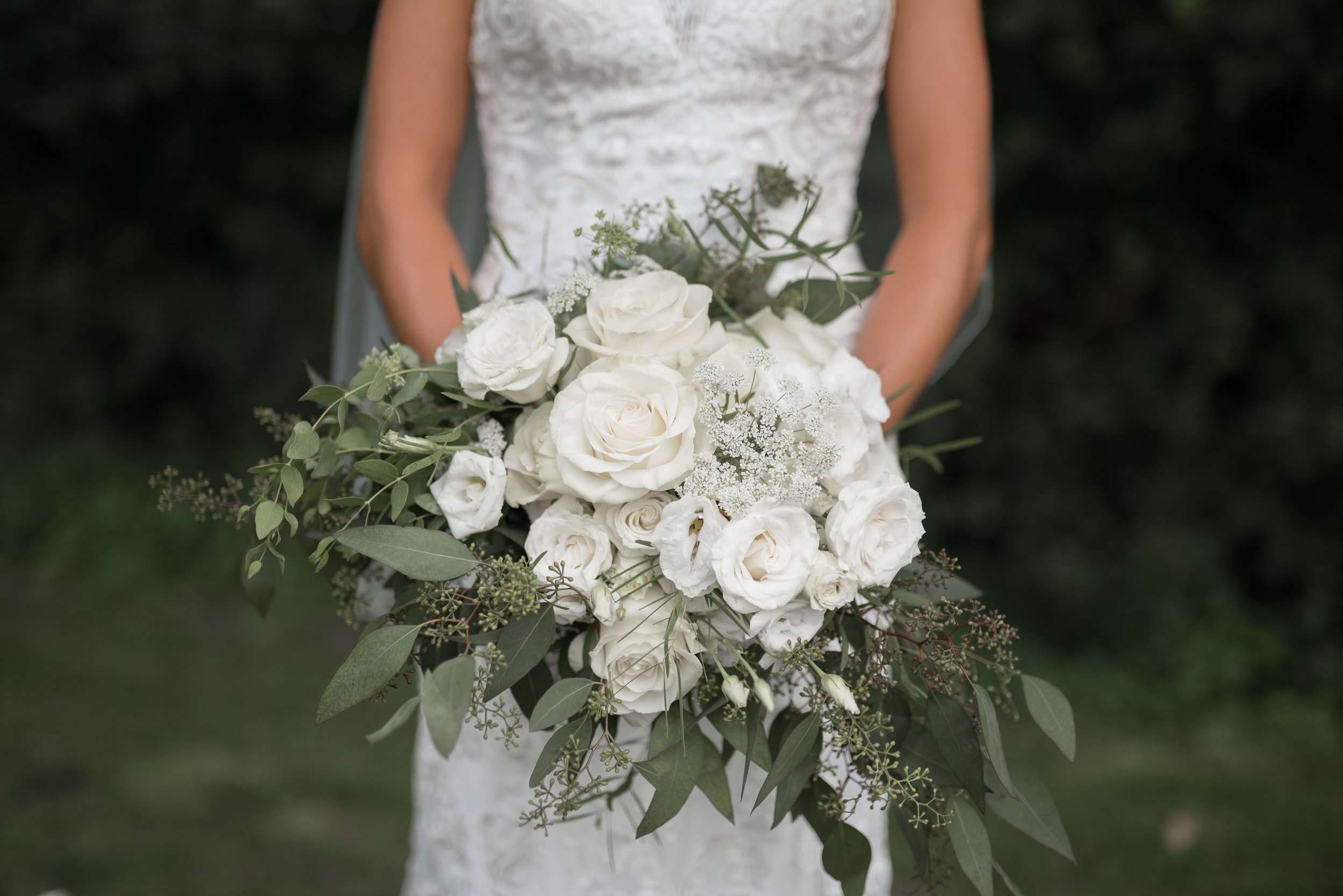 White with greenery bridal bouquet