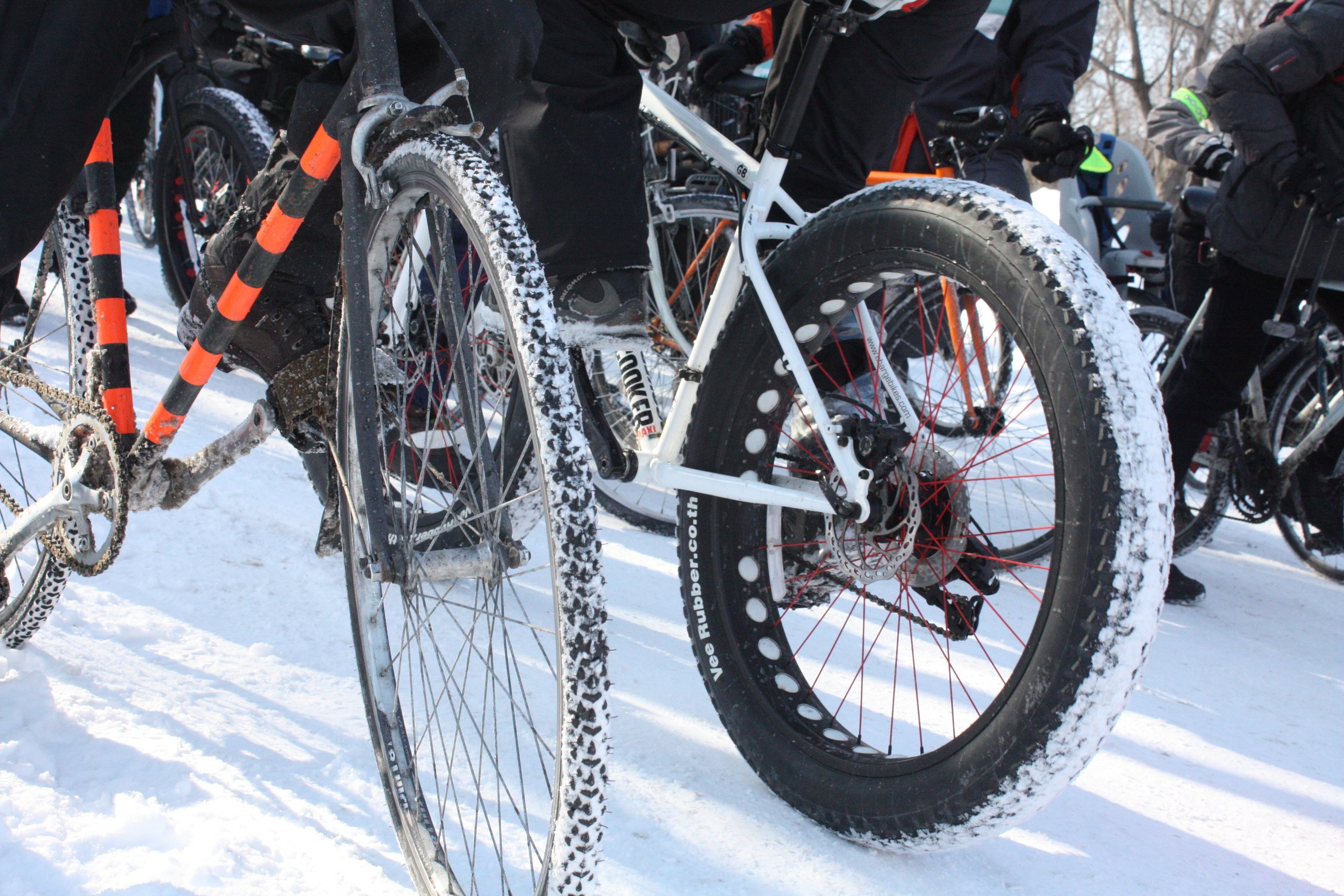 Snow cakes into tire treads at the Velo Sous Zero event in Parc Lafontaine on February 15, 2015. The annual bike circuit brings winter cyclists together for a 14-km ride through Montreal in sub-zero temperatures.