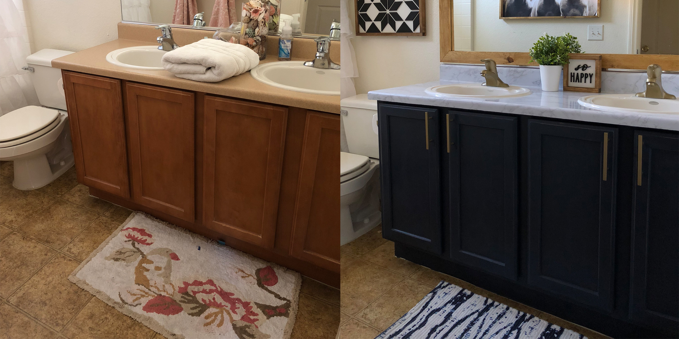bathroom makeover on a budget, do it yourself home projects, do it yourself affordable home projects, bathroom makeover, BB Frosch, bathroom before and after, do it yourself bathroom makeover, DIY bathroom makeover, do it yourself bathroom makeover inspiration, painting linoleum floors with chalk paint, chalk paint project ideas
