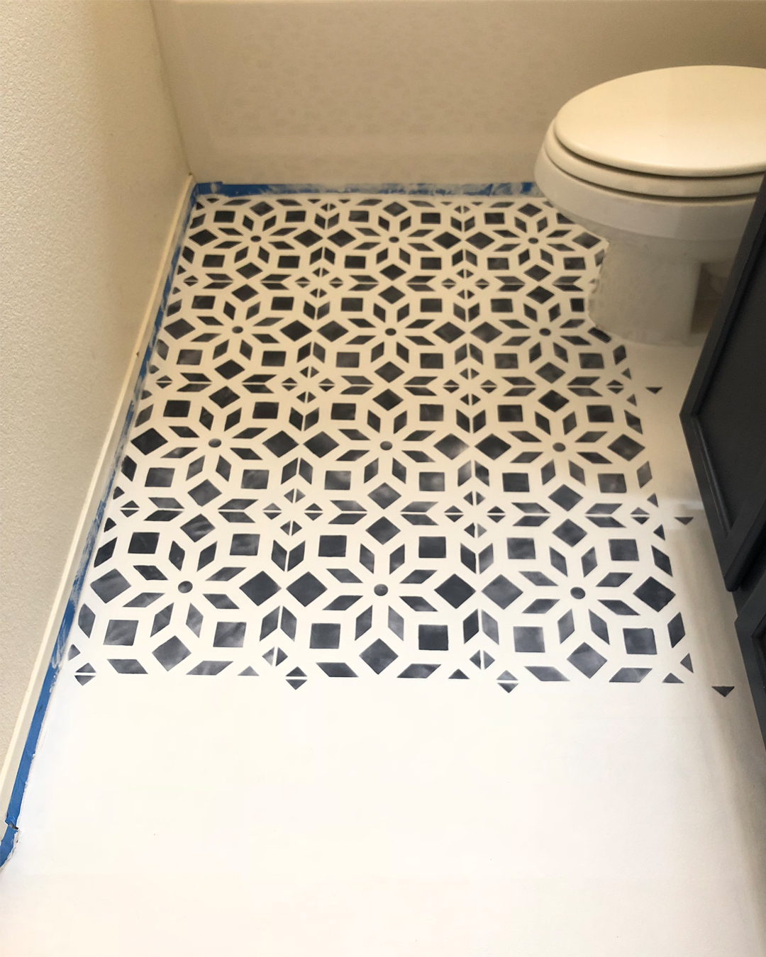 bathroom makeover on a budget, do it yourself home projects, bathroom makeover, BB Frosch, bathroom before and after, do it yourself bathroom makeover, DIY bathroom makeover, do it yourself bathroom makeover inspiration, painting linoleum floors with chalk paint, chalk paint project ideas, painting with behr paint, stencil projects, chalk painting with stencils, do it yourself stencil projects for the home, cutting edge stencils