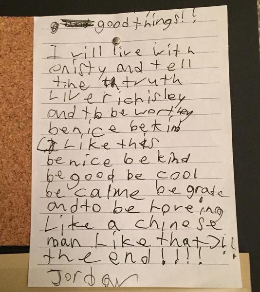 """""""Good Things"""" by Jordan, age 8"""