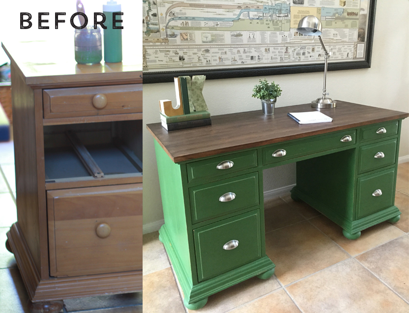 Green Desk with Faux Stained Top