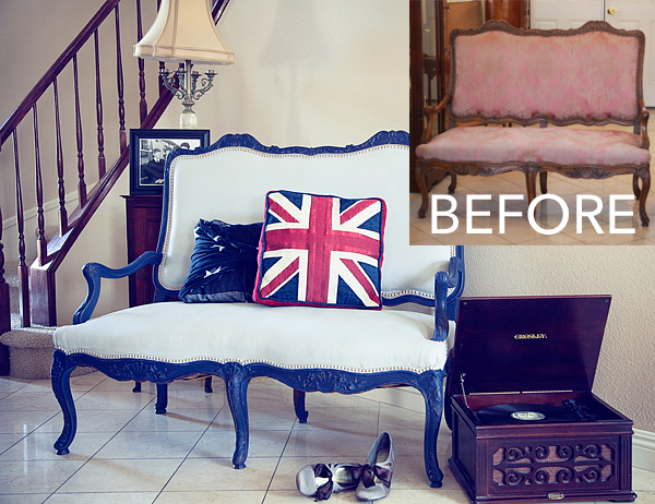 Painted Fabric Settee