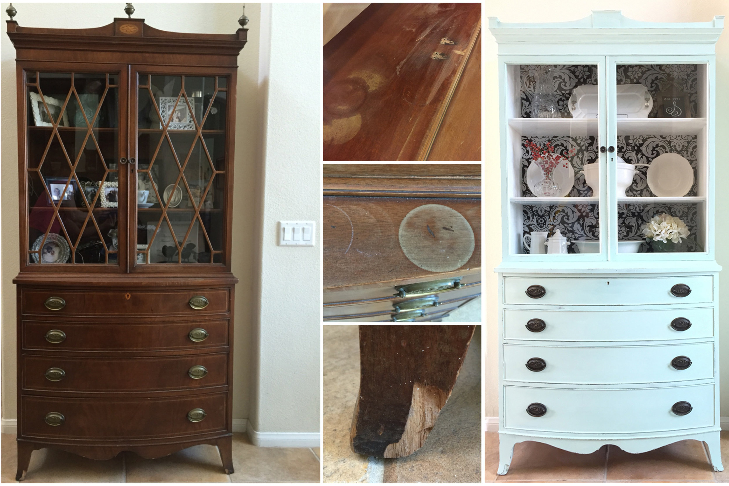 Fabric-Backed Hutch Makeover
