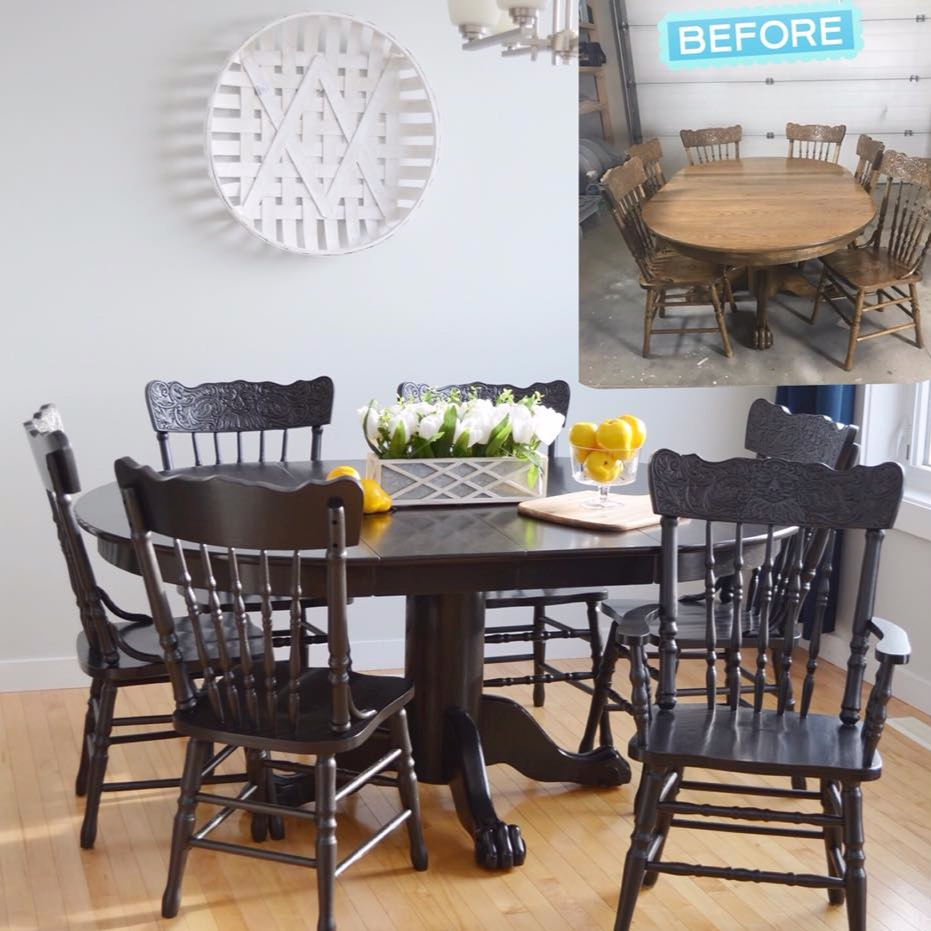 Black Faux Stain Dining Set
