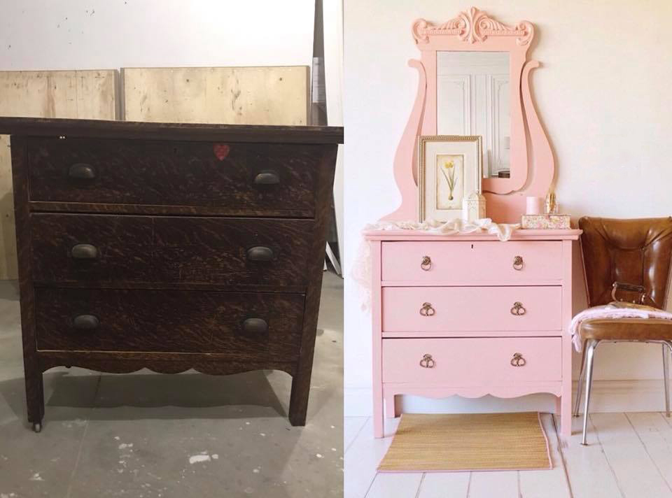 Pink Mirrored Dresser