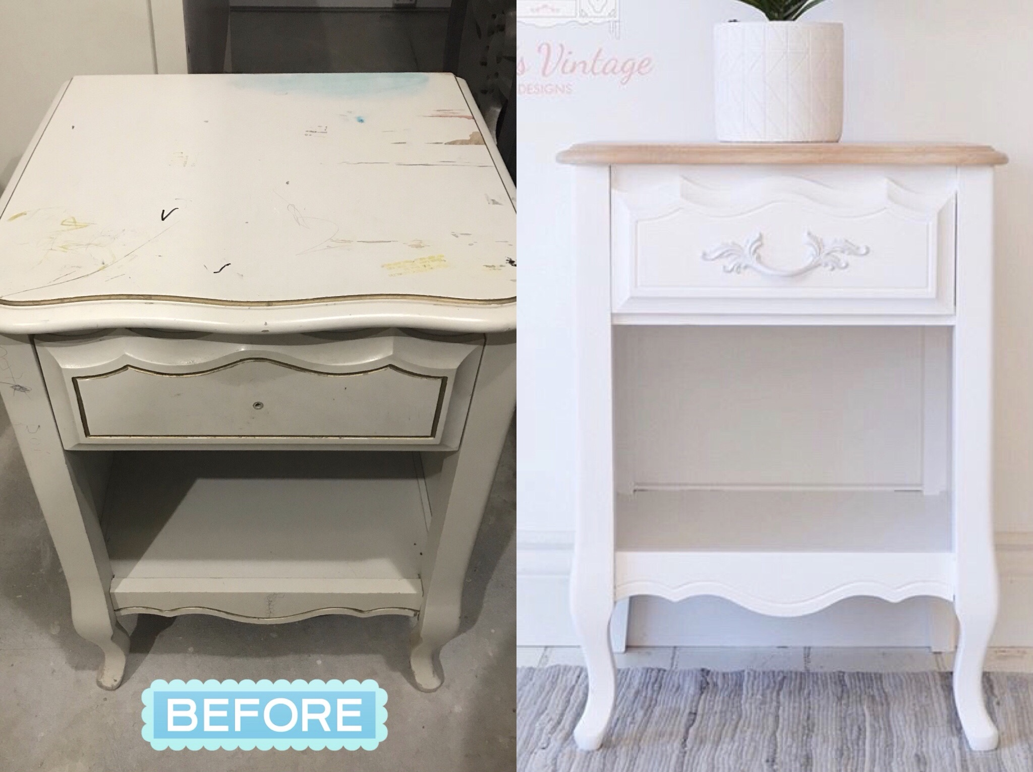 White French Provincial End Table