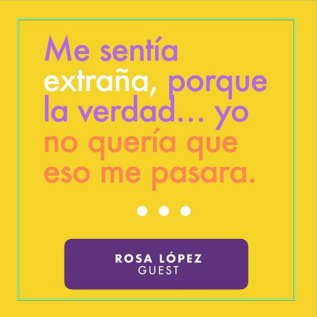 In episode 2, Rosa López tells our producer @sarcasmia22 what it was like getting her first period while swimming in a river in the Dominican Republic. Have you listened? 😁💜🎙🎧 [Translation: I felt strange, because the truth... I didn't want that to happen to me.]