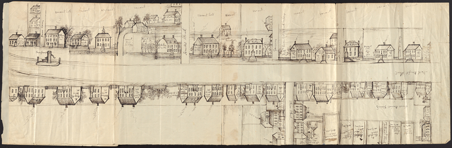 """Panoramic view of a portion of the north end of Providence"" (c1827).  Brown Olio.  Brown Digital Repository. Brown University Library.  https://repository.library.brown.edu/studio/item/bdr:41897/"