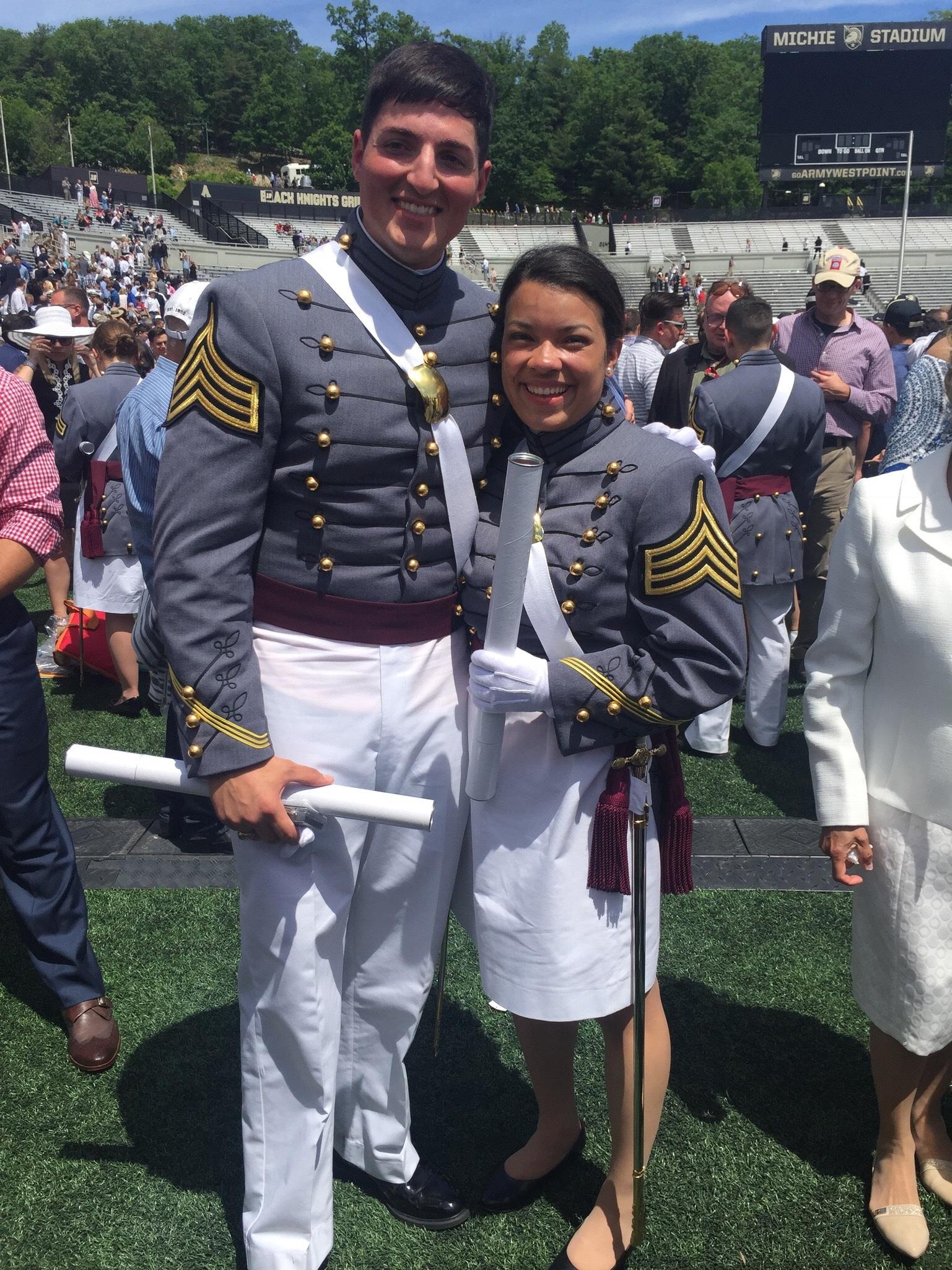 Maria, with boyfriend Ryan at their West Point graduation in 2017.