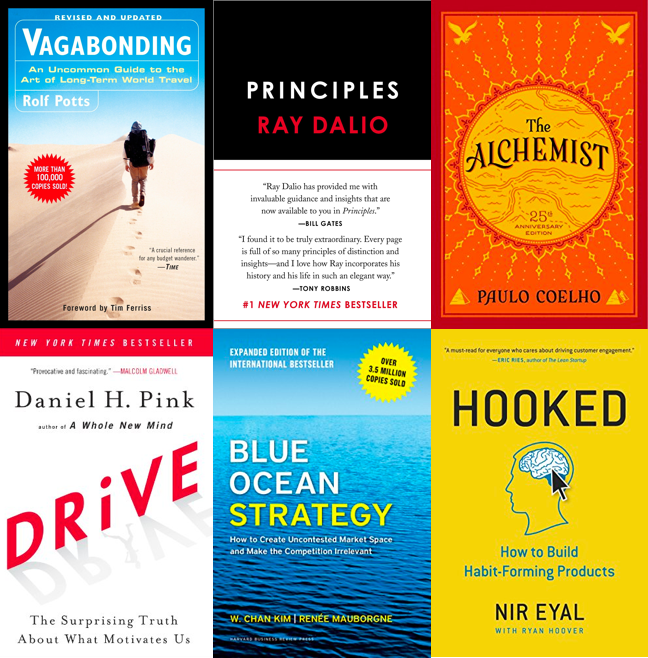 Vagabonding, Principles, The Alchemist, Drive, Blue Ocean Strategy, Hooked