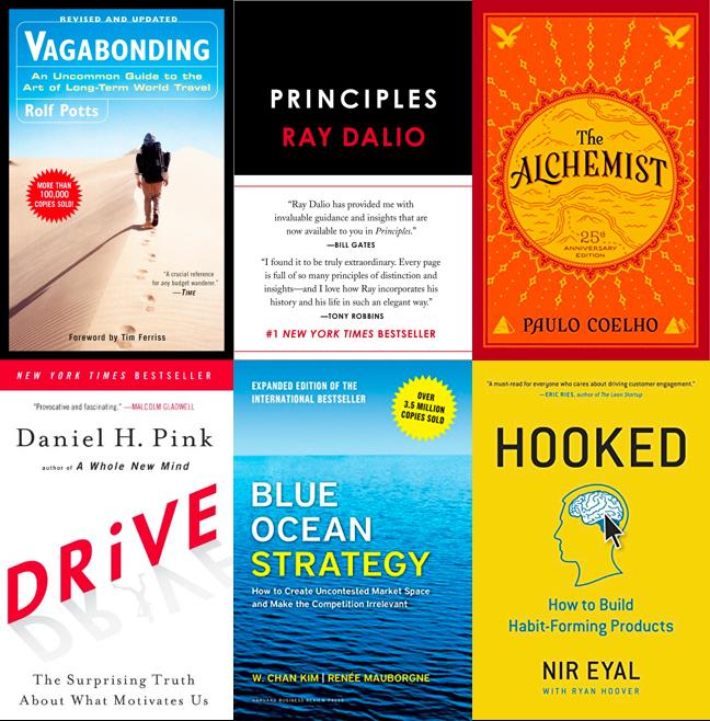 Vagabonding, Principles, The Alchemist, Drive, Blue Ocean Strategy, Hooked