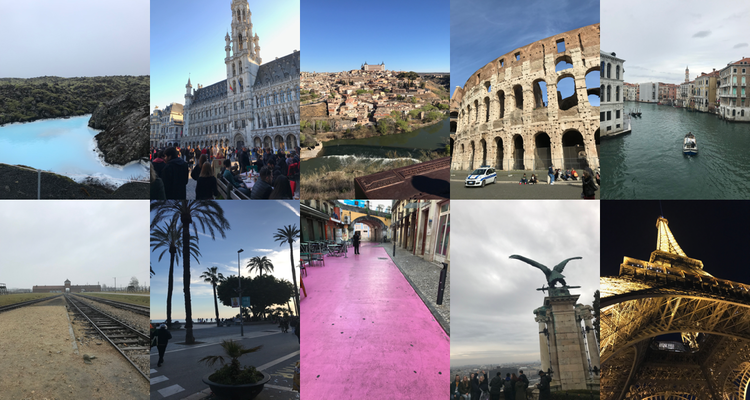 Left to right then top to bottom: Grindavík, Brussels, Toledo, Rome, Venice, Auschwitz, Stiges, Lisbon, Budapest, Paris