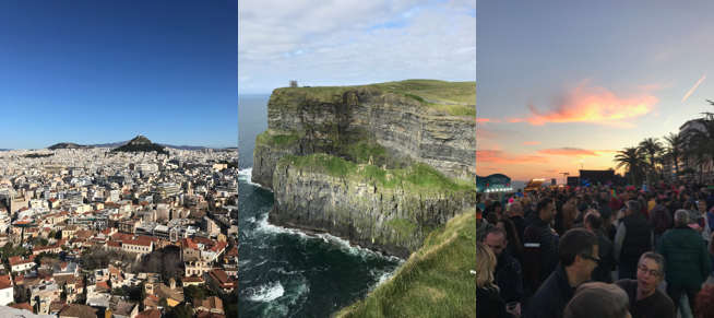 Left to right: Athens, Cliffs of Moher, Carnaval Stiges