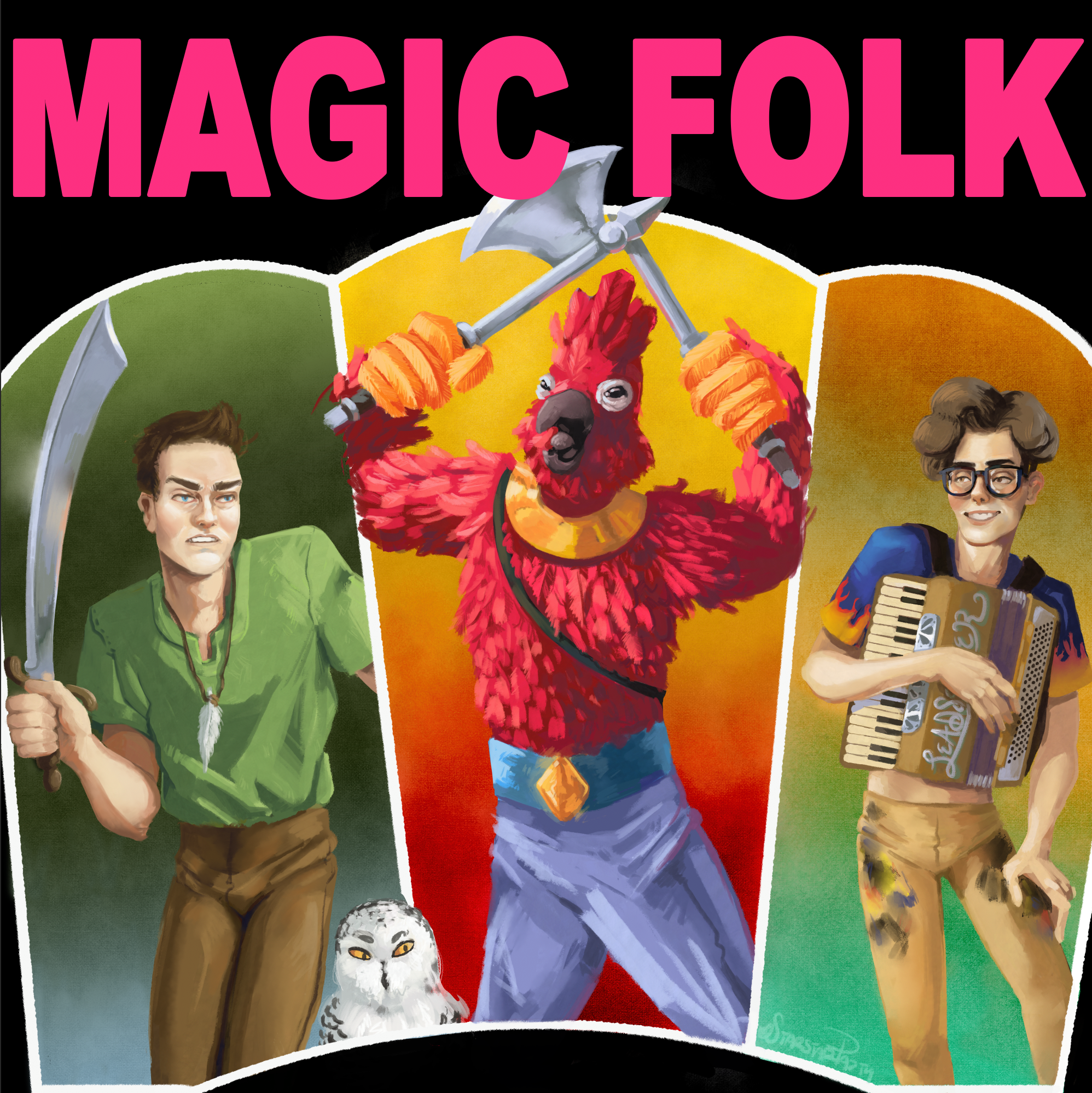 Magic Folk Podcast cover art showing Sindre with Freyja the snowy owl, Kiss, and Bernan