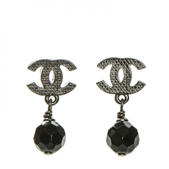 Statement Earrings - Chanel Ruthenium Bead Earrings