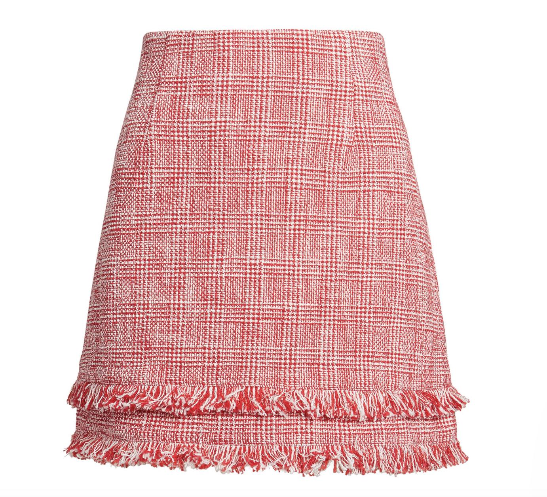 Red tweed skirt -